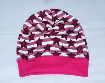 Beanie Hat KU 55-58 glitter stars purple pink