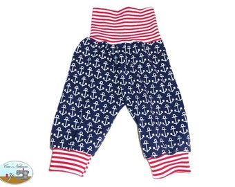 Baby pants blue red white anchor marine 50-56