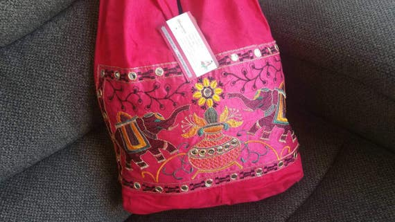 Pretty Pink Boho Shoulder Bag, Embroidery purse, Elephant Purse, Shoulder bag, Linen Hand Bag, Hippie Bags, Tote bags, xmas gift for her