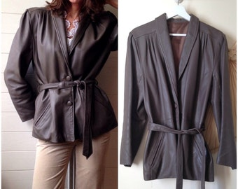 Jacket leather vintage 80 s belted khaki taupe gray (38/40)
