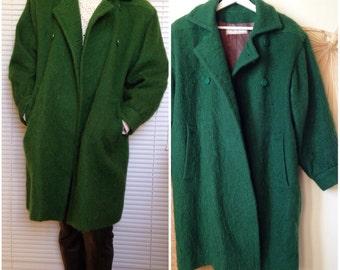 YVES SAINT LAURENT Paris coat vintage 80's oversize boyfriend green wool mohair (42/44)