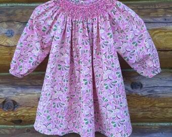 Smocked dress, hand smocked dress, pink smocked dress, smocked bishop dress