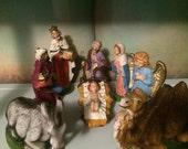 "7"" Nativity Set / Vintage Paper Mache / Italy"