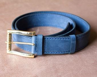 """1.2"""" Blue-gray Leather Belt Navy Leather Belt Indigo Belt Made to Order"""