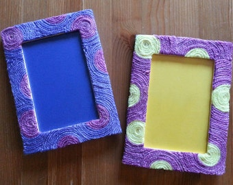 Yarn Inspired Picture Frames (yellow/purple)