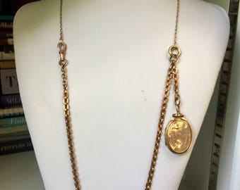 Antique Victorian 9k rose gold swallows locket & watch chain necklace, Love Token, Friendship, Gift, Jewelry, Jewellery, Statement, Family