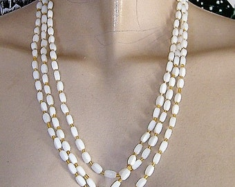 LONG WHITE GLASS bead 1950s necklace