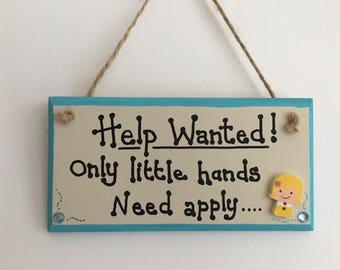 Help Wanted handmade wooden gift plaque