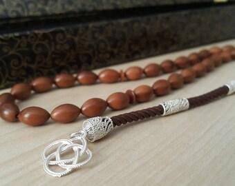 33 Count 6x8mm Kuka Wood Prayer Beads with 925 K Sterling Silver Tassel Tasbih Tesbih Rosary FREE SHIPPING