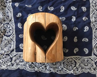 Vintage Wood Heart Sculpture / Wood Heart Carving / Special Wedding Gift / Anniversary Gift