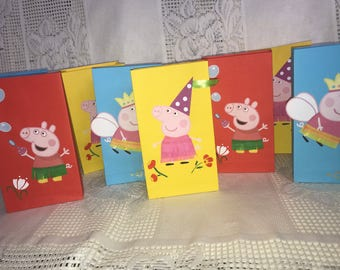 Peppa Pig and George favor bags. small peppa pig and George party bags. set of 10