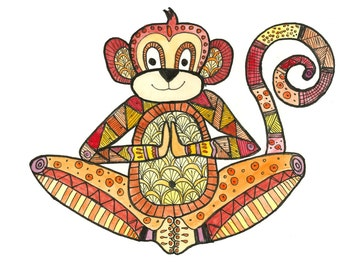 "Set of 5 greeting cards, ""Meditation Monkey"" 5 by 7"