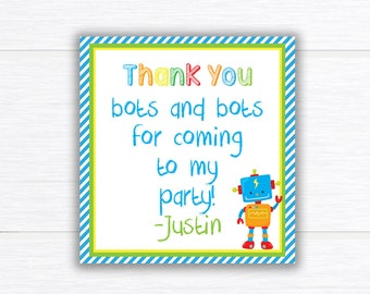 Robot Favor Tags, Robots Birthday Party Favor Tags, Robot Birthday Party, Birthday Party Favor Tags, Robot thank you cards, Robot Birthday