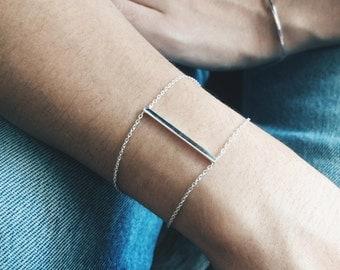 Minimal vertical bar silver bracelet, Sterling silver vertical bar bracelet, Minimal bracelet (B25)