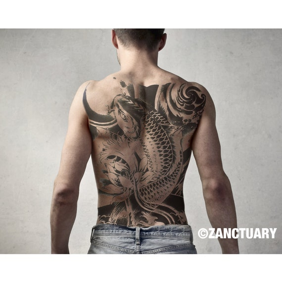 men temporary tattoo full back temporary tattoo large back. Black Bedroom Furniture Sets. Home Design Ideas