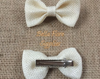 Ivory Burlap Bow with Clip- 2.75 inch-  Burlap Hair Bow- Wholesale Hair Clips