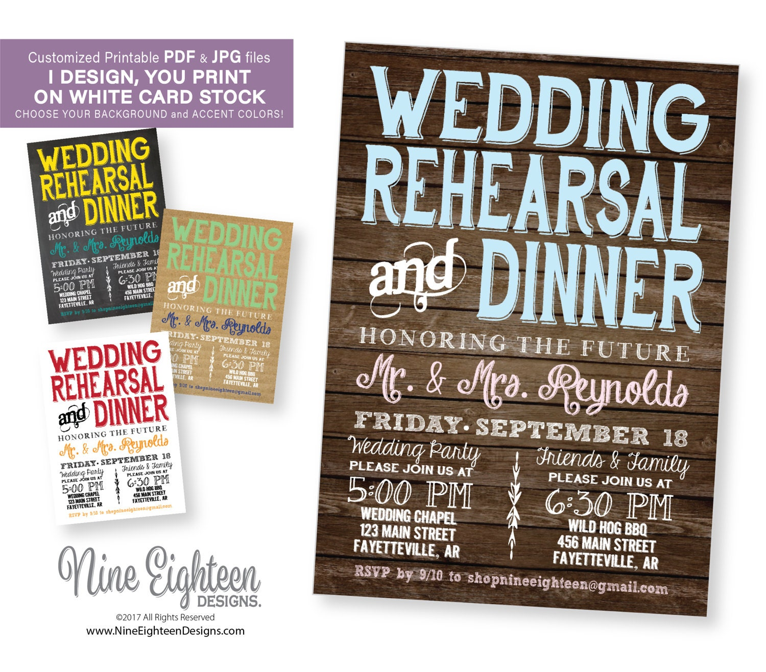 It's just an image of Influential Printable Rehearsal Dinner Invitations