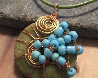 Wire Wrapped Agate with light blue glass seed beads