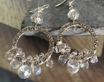 Round wire wrapped earring with crystal accents