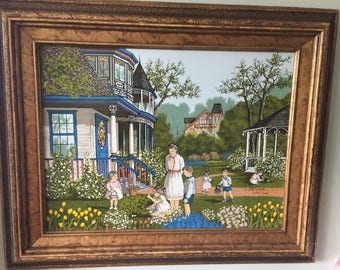 Beautiful H Hargrove Original Painting- Signed & Framed / Victorian / Collectible