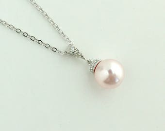 Pink Pearl Necklace Blush Pink Bridal Pearl Necklace Rose Pink Cubic Zirconia Necklace Pink Swarovski Pearl Bridesmaid Jewelry Rosaline Pink