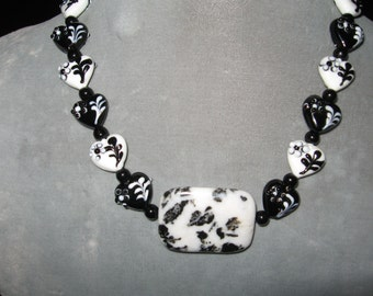Snow Flake Obsidian Black and White Glass Heart Necklace......Valentines Day Perfect.....