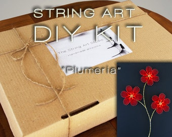 """String art kit DIY """"Plumeria"""", with all needed materials, instructions & pattern included! String art DIY kit 