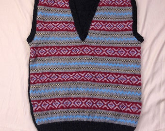 Vintage Style Hand Knitted Gents Fair Isle Slip Over