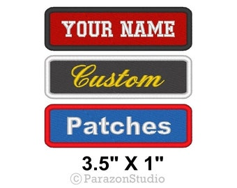 """Custom Embroidered Name Tag Sew on Patch Motorcycle Biker Patches - 3.5"""" X 1"""" (A)"""
