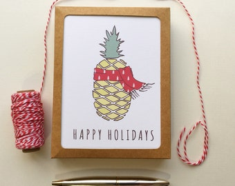 Christmas Pineapple Holiday / Funny Christmas Card Set of 10 / Funny Holiday Card Set Happy Holidays Card / Handmade Christmas Greeting Card