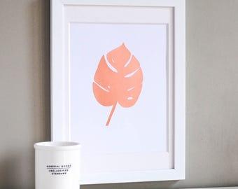 Tropical Leaf Copper Art Print