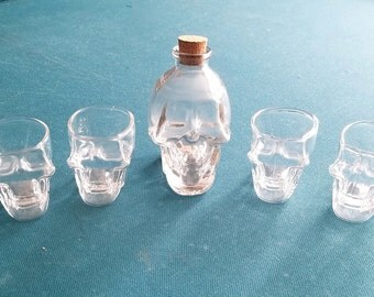skull decanter/shot glass set