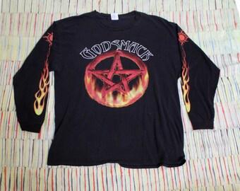 90's Metal Nu-Metal Godsmack Long-Sleeve Pentagram Tour Shirt, Size XL