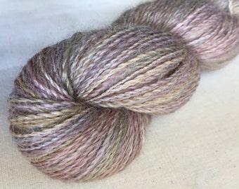 Australian grown and spun 100% Baby Apaca. Hand Dyed 2 ply yarn, laceweight