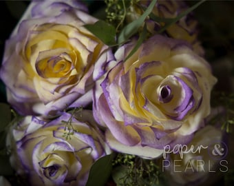 Coffee Filter Roses in Yellow with Purple Tipped