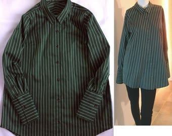 Forest Green Pin striped stripes pinstripe cotton Twill Double cuffs Relax fit shirt Tunic blouse US 8 - US 9 Large COCOdake COuture Japan