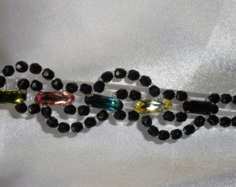 Bracelet wands: Bohemian glass and multicolored Svarovski Crystal Black