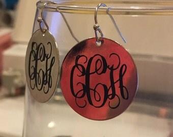 Silver/Gold toned monogrammed earrings