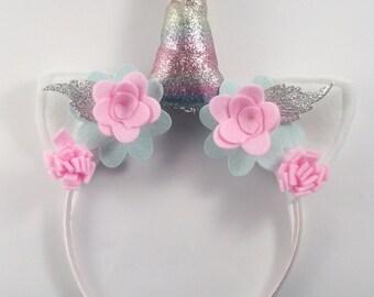 Rainbow unicorn headband