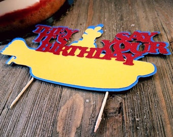 beatles cake topper, beatles birthday, beatles baby shower, beatles party, yellow submarine party, beatles gift