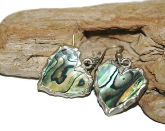 Vintage Abalone Earrings, Abalone Shell Hearts, Abalone Heart Jewelry, Paua Shell Earrings for Pierced Ears, Unique Christmas Gift for Her