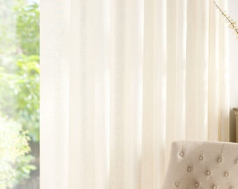 Custom Made PURE LINEN Pale Cream  Curtain Panel Extra Wide Extra Long ***All  Sizes are available ***