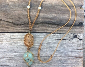 Double macrame crystal necklace