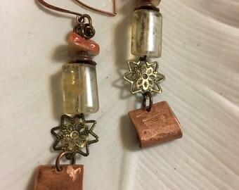 Amber Copper Dangle Earrings