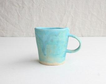Handmade Stoneware Tea Cup, Stoneware Mug, Handmade Mug, Turquoise, Handmade Dinnerware