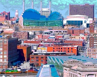 Kansas City Skyline Crossroads colorful Kaufman Fine arts buildings impressionism Artrageouskc