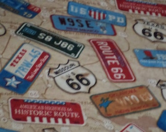 Route 66 License Plate Fabric/ Sold by the Yard/ Map background/ 100 % Cotton