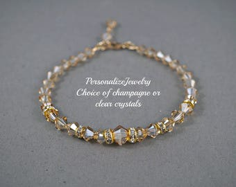 Bridal Champagne Bracelet, Swarovski Golden Shadow Crystals, Gold Filled Jewelry, Bridesmaid Gift, Delicate Dainty Jewelry, Bride Bracelet