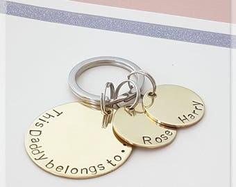 this daddy belongs to keyring, gift for dad,  personalised keyring, dad keyring, gift for dad, personalised gift, brass keyring