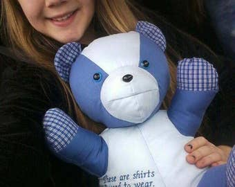 """Made from loved ones clothing,Teddy Bear made from loved ones shirt,Memory Bear,keepsake bear,Bereavement,Teddy Bear,19"""" Large,Round Face"""